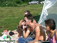Babe Blowjob Threesome Outdoor