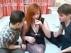 Cumshot MILF Old and Young Redhead Threesome